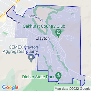 Clayton, California Border Map