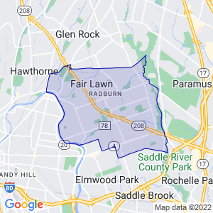Fair Lawn, New Jersey Border Map