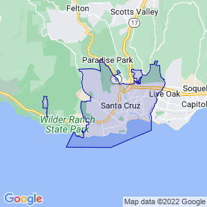 Santa Cruz, California Border Map