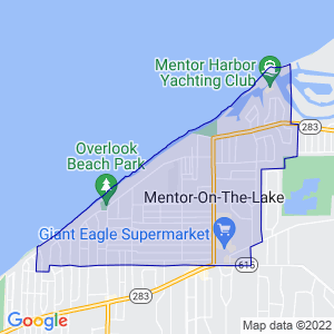 Mentor-on-the-Lake, Ohio Border Map