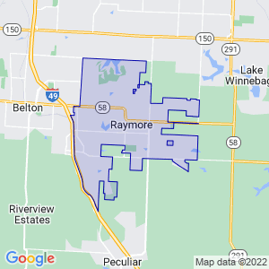 Raymore, Missouri Border Map