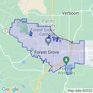 Forest Grove, Oregon Border Map