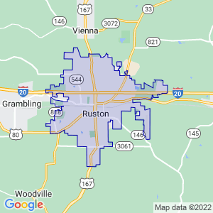 Ruston, Louisiana Border Map