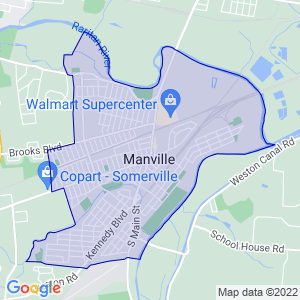 Manville, New Jersey Border Map