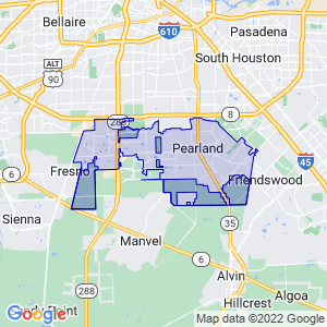 Pearland, Texas Border Map