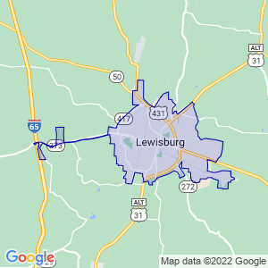 Lewisburg, Tennessee Border Map