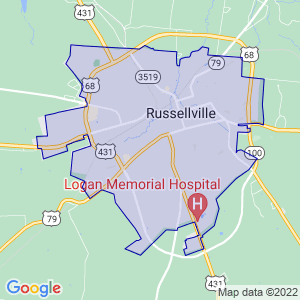 Russellville, Kentucky Border Map