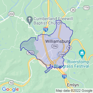 Williamsburg, Kentucky Border Map