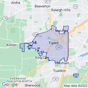 Tigard, Oregon Border Map