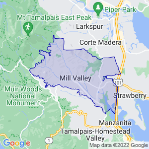 Mill Valley, California Border Map