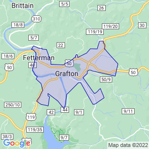 Grafton, West Virginia Border Map