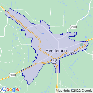 Henderson, Tennessee Border Map