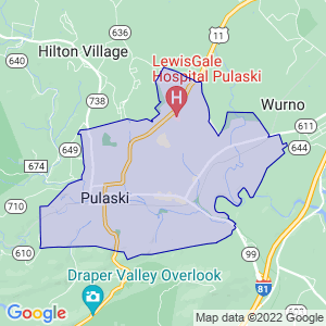 Pulaski, Virginia Border Map