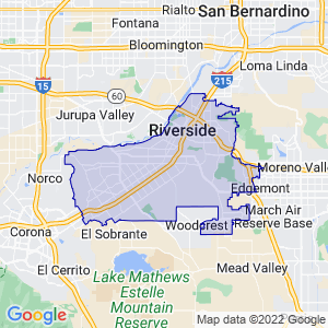 Riverside, California Border Map