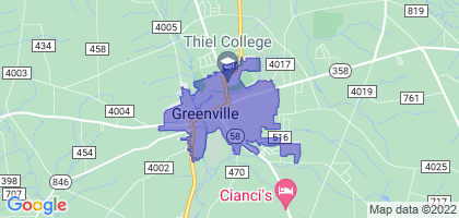 Greenville, Pennsylvania Border Map