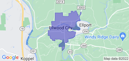 Ellwood City, Pennsylvania Border Map