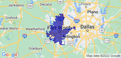 Fort Worth, Texas Border Map