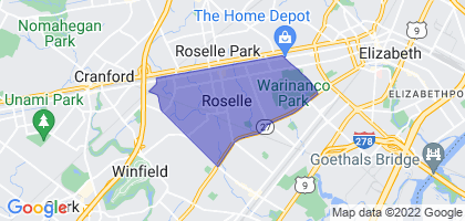 Roselle, New Jersey Border Map