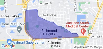 Richmond Heights, Florida Border Map