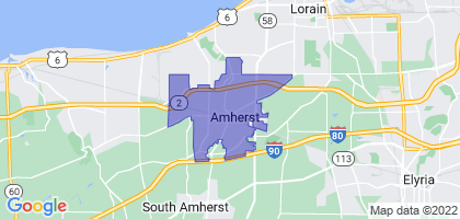 Amherst, Ohio Border Map