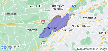 Watchung, New Jersey Border Map