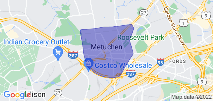 Metuchen, New Jersey Border Map