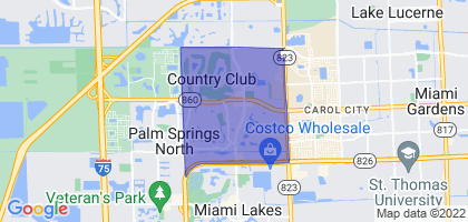Country Club, Florida Border Map