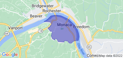 Monaca, Pennsylvania Border Map