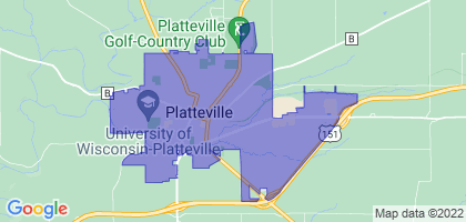 Platteville, Wisconsin Border Map