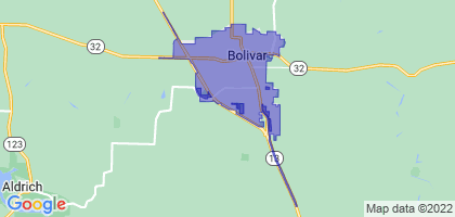 Bolivar, Missouri Border Map