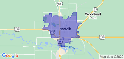 Norfolk, Nebraska Border Map