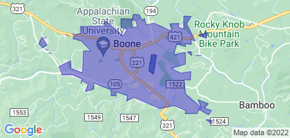 Boone, North Carolina Border Map