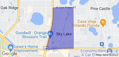 Sky Lake, Florida Border Map