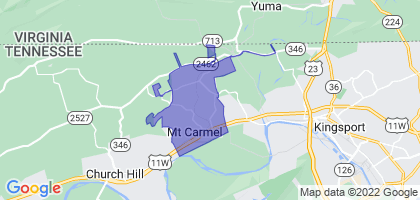 Mount Carmel, Tennessee Border Map