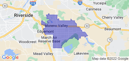 Moreno Valley, California Border Map