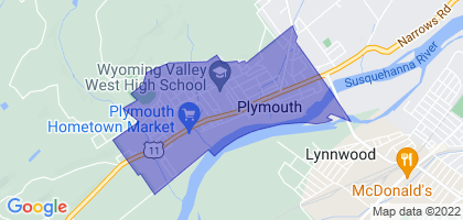 Plymouth, Pennsylvania Border Map