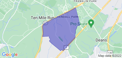 Kendall Park, New Jersey Border Map