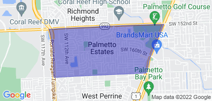 Palmetto Estates, Florida Border Map