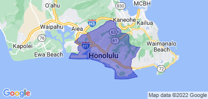 Urban Honolulu, Hawaii Border Map