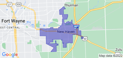 New Haven, Indiana Border Map