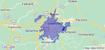 Greenville, North Carolina Border Map