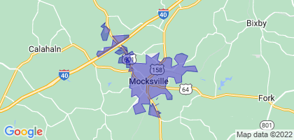 Mocksville, North Carolina Border Map