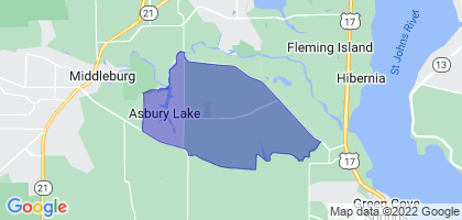 Asbury Lake, Florida Border Map