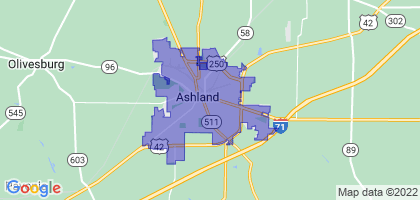 Ashland, Ohio Border Map
