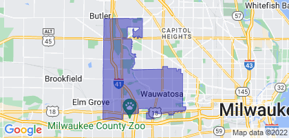 Wauwatosa, Wisconsin Border Map