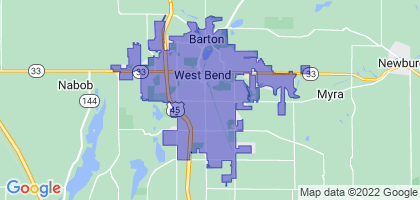 West Bend, Wisconsin Border Map