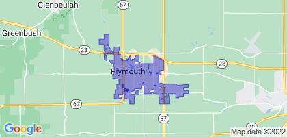 Plymouth, Wisconsin Border Map