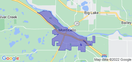 Monticello, Minnesota Border Map