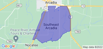 Southeast Arcadia, Florida Border Map