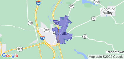 Meadville, Pennsylvania Border Map